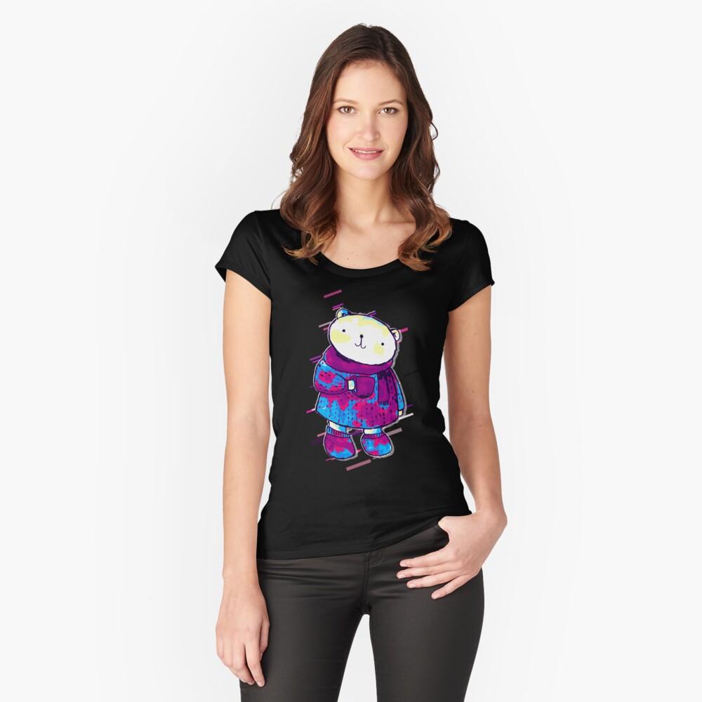 Polar bear cute bear Eighties Retro Violet and Purple Camiseta entallada de cuello ancho