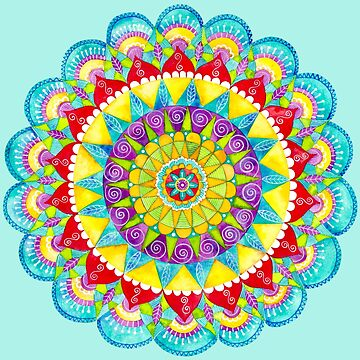 Mandala of Many Colors on Turquoise by ShelleyYlstArt