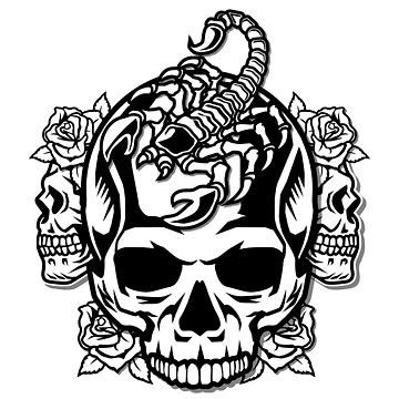 Scorpion Skull with Roses by Skullz23
