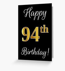 Elegant Faux Gold Look Number Happy 94th Birthday Black Background
