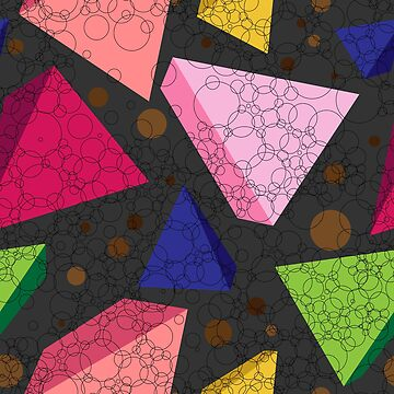Three-dimensional colored triangles, pyramids and circles of different sizes. by IrinkaArt