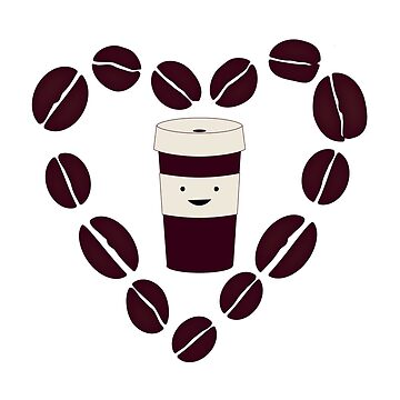 Cute Coffee Cup in a  Coffee Bean Heart by Eggtooth