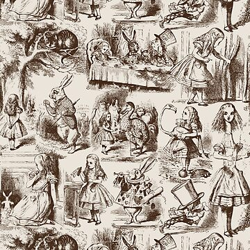 Alice in Wonderland | Toile de Jouy | Beige and Chocolate Brown by EclecticAtHeART