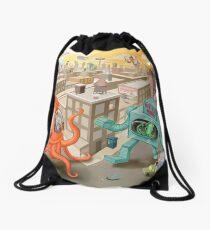 Robot vs. Squid Drawstring Bag