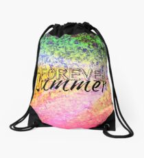 FOREVER SUMMER Happy Rainbow Colorful Typography Abstract Painting Drawstring Bag