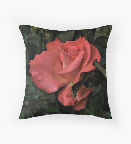 Peach Red Rose Throw Pillow