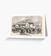 New railway station Epsom Downs 1865 Greeting Card