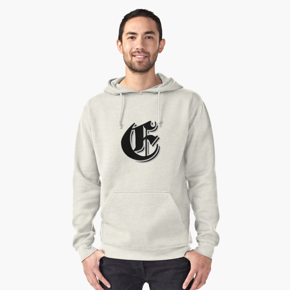 """Fifth Letter"" (Olde English) Pullover Hoodie Front"