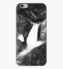 Yellowstone Falls in Black & White iPhone Case