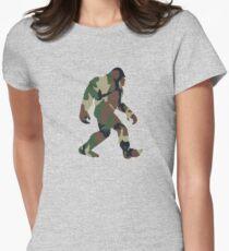 Bigfoot T Shirt Camo Sasquatch Tee Shirt Women's Fitted T-Shirt