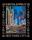 Times Square & Broadway (poster on black) by Ray Warren