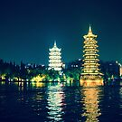 Sun and Moon Pagodas in Guilin, China by Fike2308
