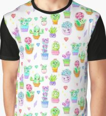 Crystal Cactus Repeating Pattern Graphic T-Shirt