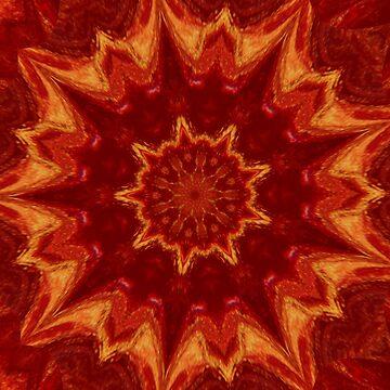 Red Supernova 2 - Abstract Kaleidoscope Art by Fluid Nature by vmajzlik