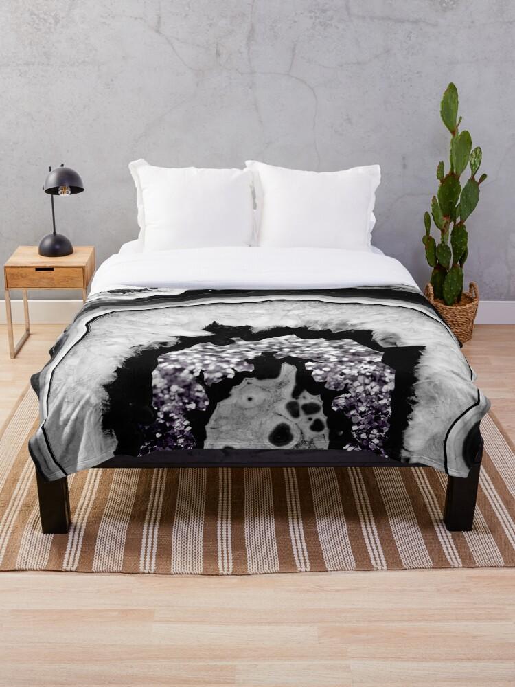 \'Gray Black White Agate with Purple Black Silver Glitter #1 #gem #decor  #art \' Throw Blanket by anitabellajantz