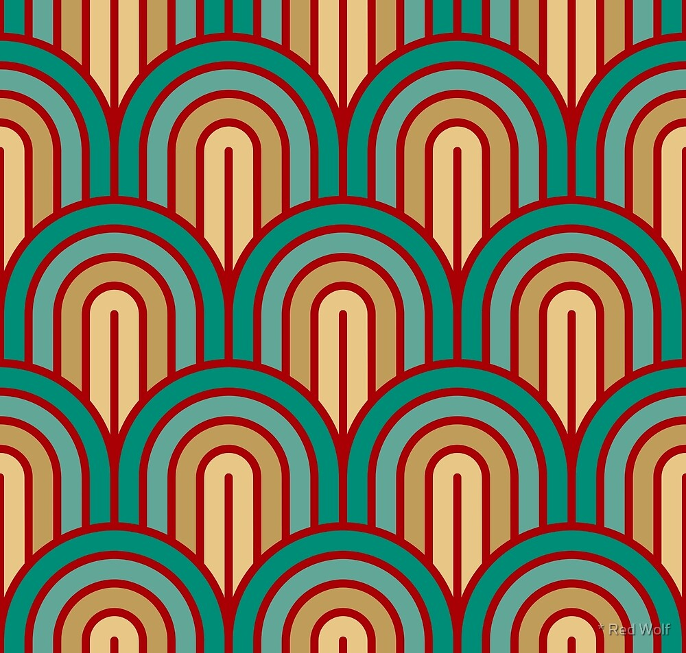 Geometric Pattern: Art Deco Arch: Turquoise by * Red Wolf