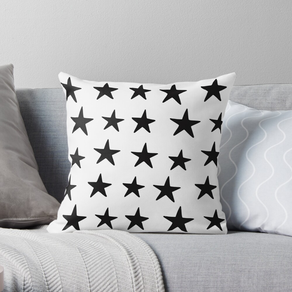 Star Pattern Black On White  Throw Pillow