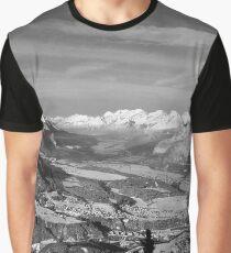 Innsbruck In Winter From Patscherkofel Mountain black white Graphic T-Shirt
