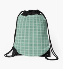Christmas Green Holly and Ivy Tartan Check Plaid Drawstring Bag