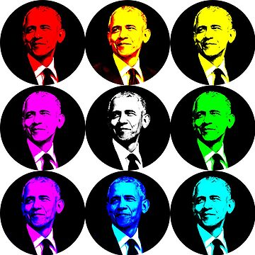 Barack Obama circle popart by supercell734