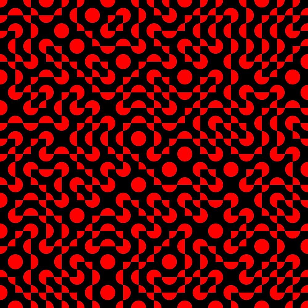 Truchet Tiles v008 Red & Black by Rupert Russell