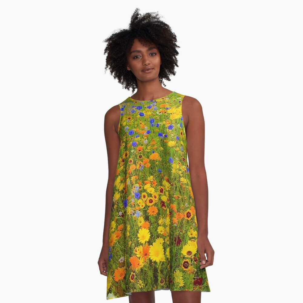 Field of Yellow and Blue Flowers A-Line Dress