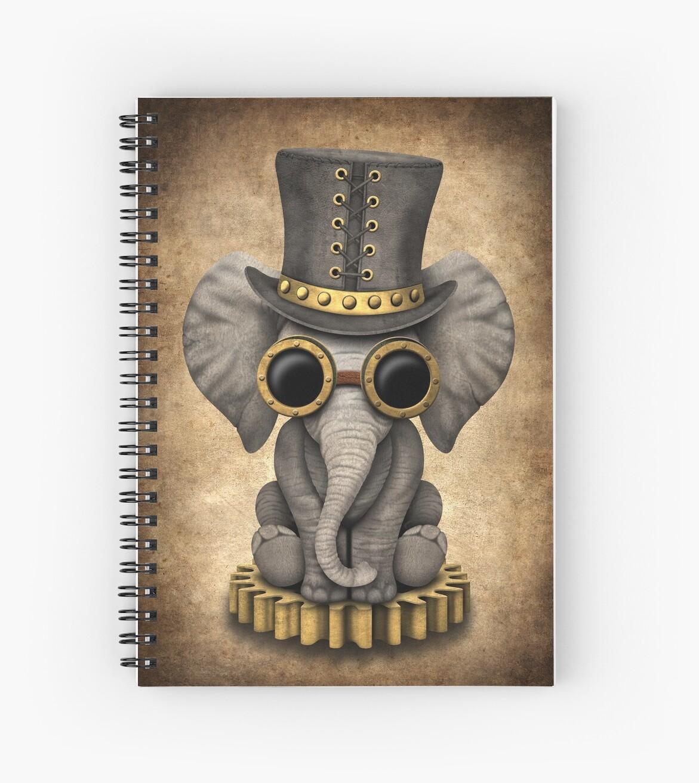 Steampunk Baby Elephant Spiral Notebooks By Jeff Bartels Redbubble