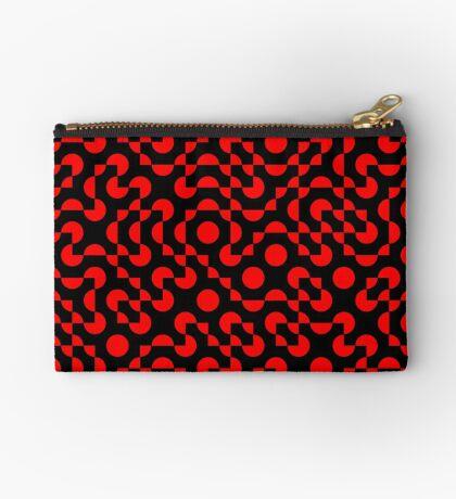 Truchet Tiles v008 Red & Black Zipper Pouch