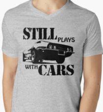 Still plays with cars  Men's V-Neck T-Shirt