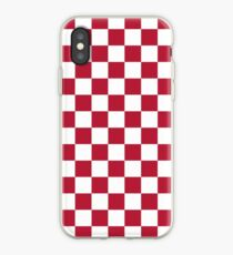 Racing Red and White Checkerboard iPhone Case
