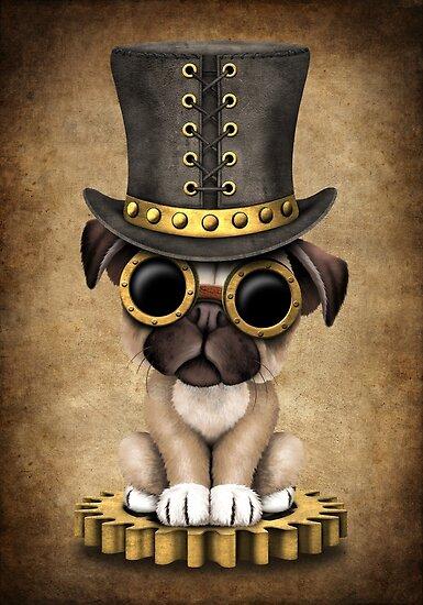 Netter Steampunk Mops-Welpen-Hund von jeff bartels