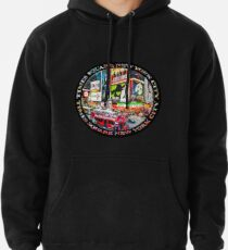 Times Square New York City Badge Emblem (on black) Pullover Hoodie