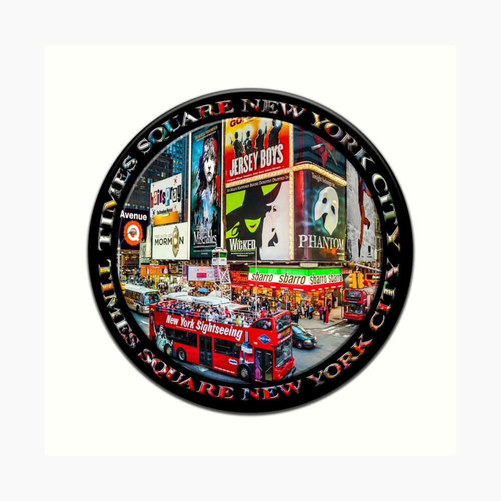 Times Square New York City Badge Emblem (on black circle) Art Print