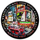 Times Square New York City Badge Emblem (on black circle) by Ray Warren