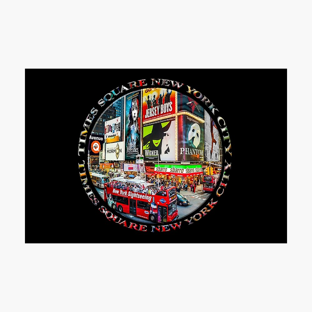 Times Square New York City Badge Emblem (on black) Photographic Print