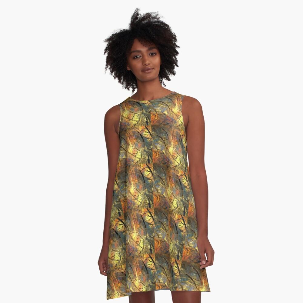 Warm Golden Layer A-Line Dress Front