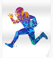 Colorful Football Player Poster