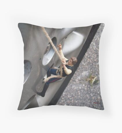 Changing a Tire Throw Pillow