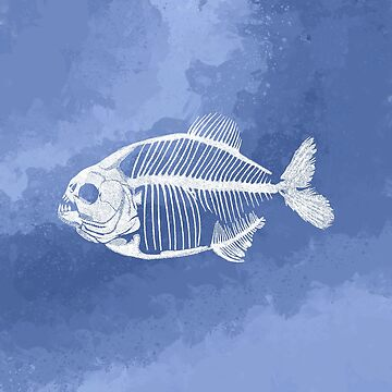 Piranha Skeleton Watercolour Blue by GrizzlyGaz