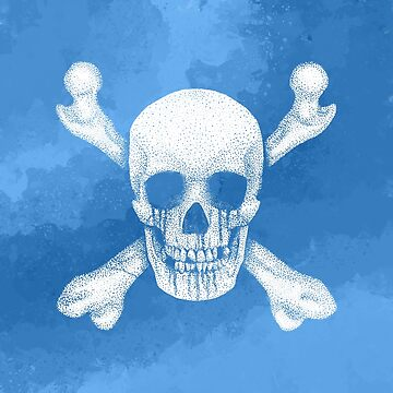Jolly Roger Pirate Skull Watercolour by GrizzlyGaz