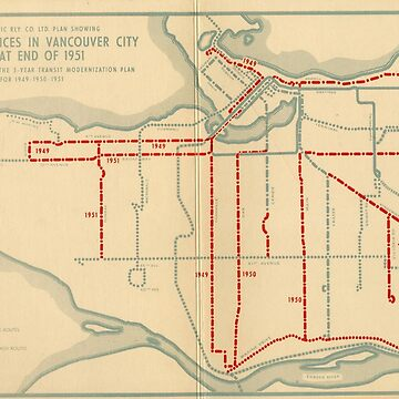 Transit services in Vancouver city as at end of 1951 by FOVCA