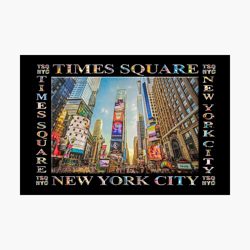 Times Square Hustle (black poster edition) Photographic Print