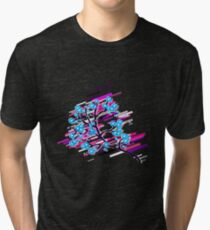 Blossoms branch Eighties Retro Violet and Purple Tri-blend T-Shirt