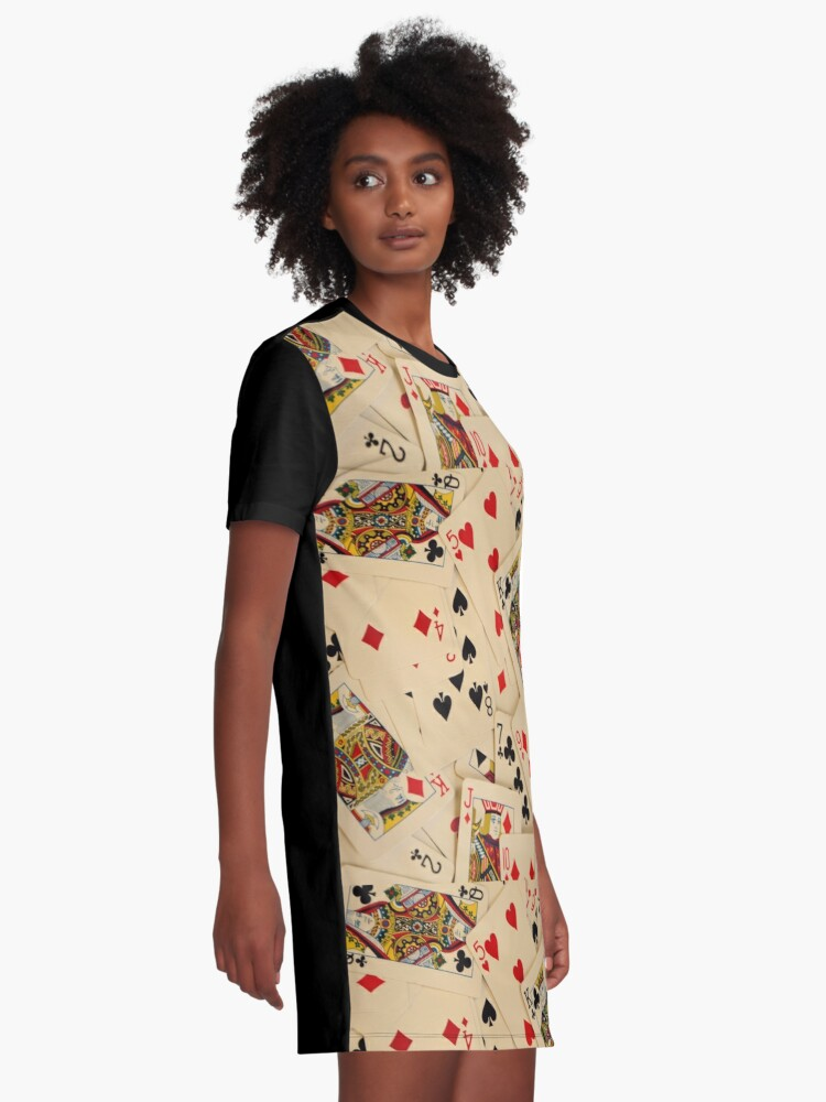 Alternate view of Scattered Pack of Playing Cards Hearts Clubs Diamonds Spades Pattern Graphic T-Shirt Dress