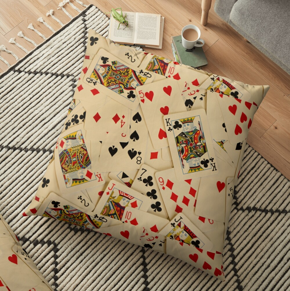 Scattered Pack of Playing Cards Hearts Clubs Diamonds Spades Pattern Floor Pillow