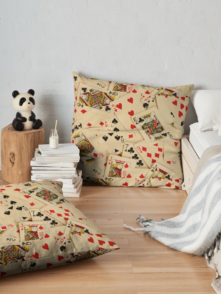Alternate view of Scattered Pack of Playing Cards Hearts Clubs Diamonds Spades Pattern Floor Pillow