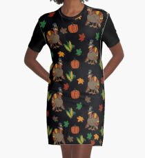 Thanksgiving Turkey pattern Graphic T-Shirt Dress
