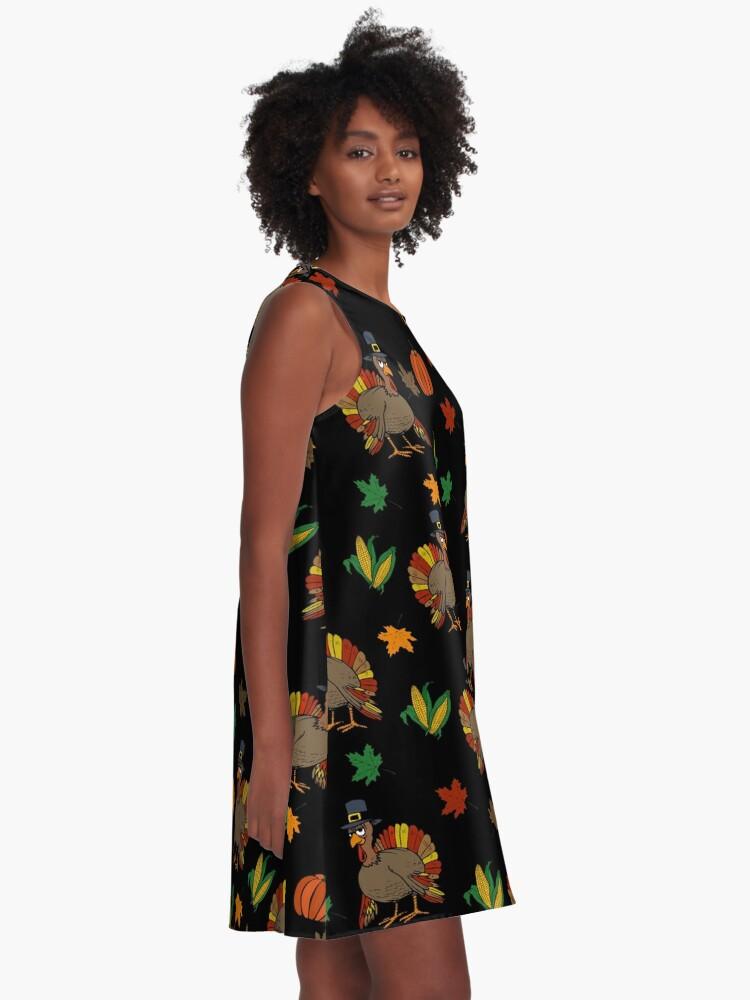 Alternative Ansicht von Thanksgiving-Muster A-Linien Kleid