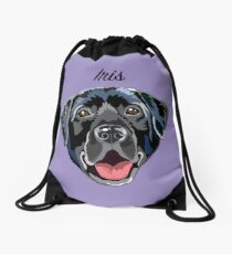 Iris (custom name) black Labrador Drawstring Bag