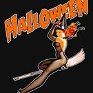 Vintage Halloween Sexy Witch On Broomstick by lifestyleswag